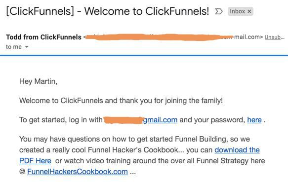 sign up for clickfunnels - welcome email