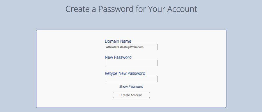 bluehost domain create password