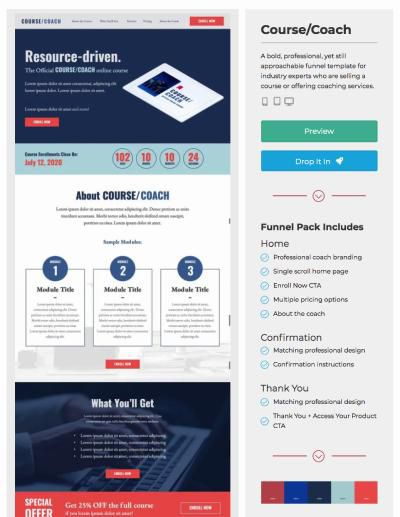 landing page examples coach template
