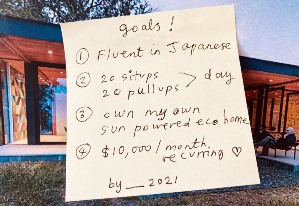 vision board examples post it note